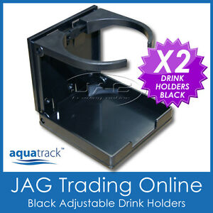 2-x-ADJUSTABLE-FOLDING-BLACK-DRINK-HOLDERS-Boat-Marine-Caravan-Car-4x4-RV-Cup-B
