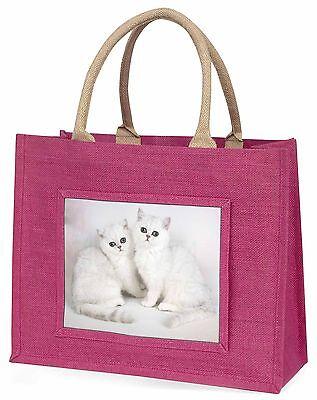 Exotischer Weiß Kätzchen Große Rosa Einkaufstasche Weihnachten Geschenkidee,
