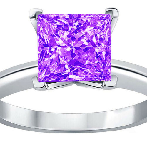 Details about  /3.0 ct Princess Cut Natural Amethyst Wedding Bridal Promise Ring 14k White Gold