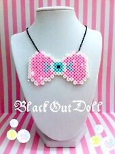 Eyeball Bow Pastel Goth Soft Grunge Decora Kawaii Pixel Perler Bead Necklace
