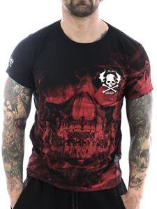 Yakuza-Herren-Maenner-Shirt-Cyber-Death-13036-schwarz-rot-Skull-T-Shirt-NEU