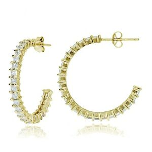 Gold-Tone-over-Sterling-Silver-Square-Cubic-Zirconia-Half-Hoop-Earrings-25mm
