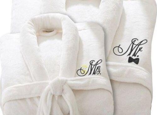 Ricamato Personalizzata Mr /& Mrs Bianco Vestaglia Anniversario Di Matrimonio Regalo