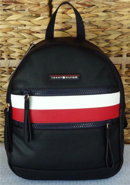 black leather tommy hilfiger backpack