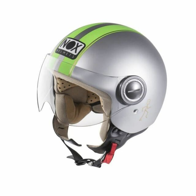 CASQUE SCOOTER MOTO JET NOX N210 GRIS VERT