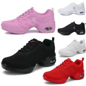 Womens-Flyknit-Modern-Dance-Shoes-Ballet-ballroom-Low-Heels-mesh-shoes-Sneakers