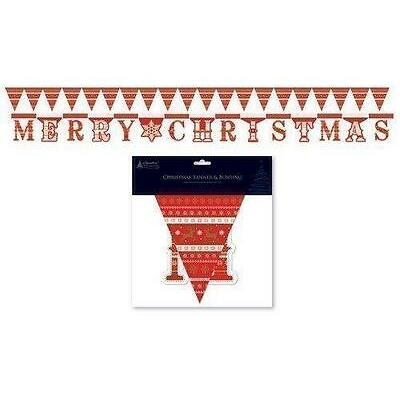 Christmas Xmas Festive Hanging Banner & Bunting Decoration Party Red & White