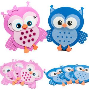10 Owls Baby Shower Favors Foam Decorations Buo Bird Blue Pink