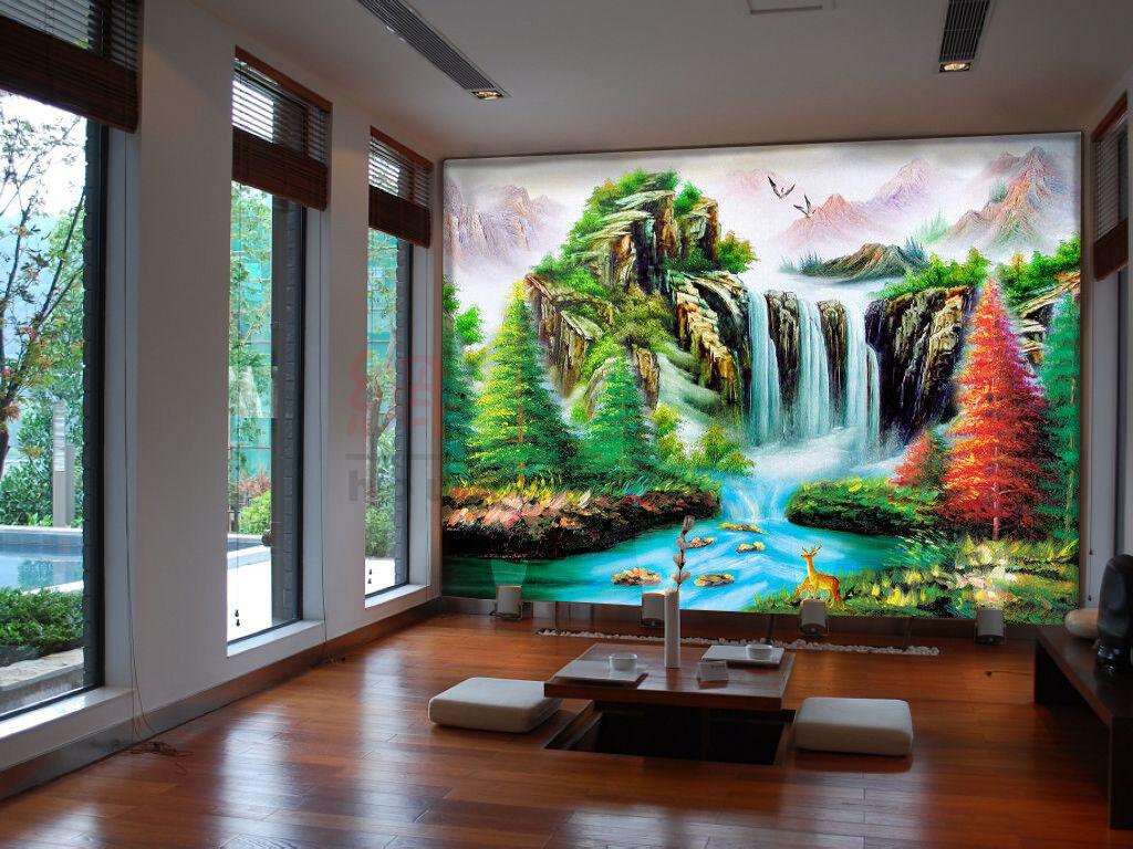 3D Waterfall Grün 97 Wallpaper Mural Wall Print Wall Wallpaper Murals US Carly