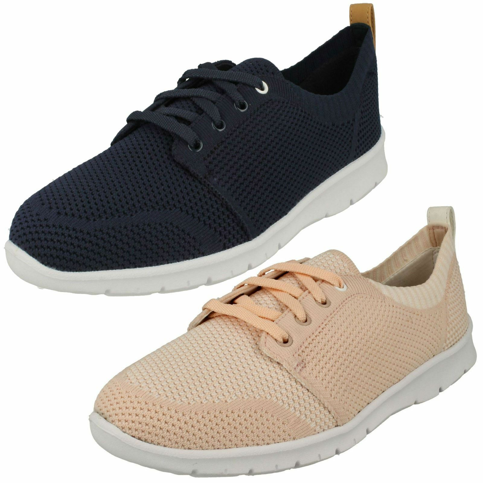 LADIES CLARKS CASUAL WIDE LACE UP TRAINERS SUMMER schuhe PUMPS STEP ALLENA SUN