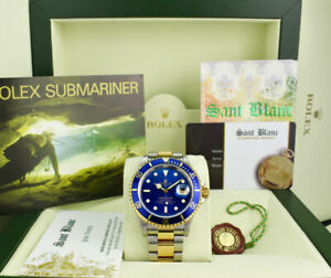 ROLEX 40mm 18kt Gold & Stainless Steel Submariner SEL Blue Dial 16613 SANT BLANC