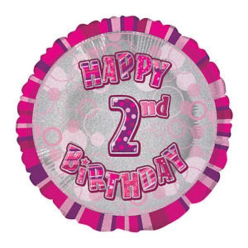 """Happy 2nd Birthday Girl Pink Prismatic Unique Foil Helium Balloon 18/"""" Quality"""
