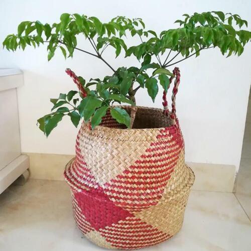 Garden Flower Pot Planter Seagrass Belly Basket Straw Write Wicker Storage Bag