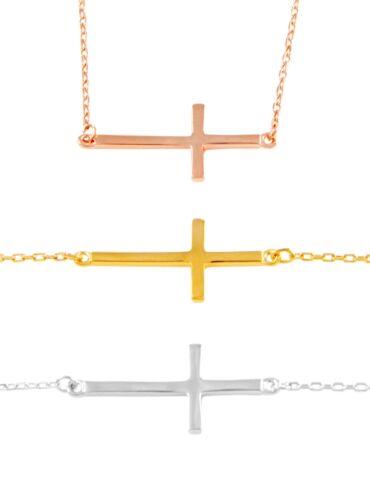 """Argent Sterling 925 Croix Collier Pendentif Feux en or blanc 18/"""""""
