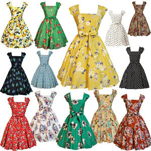 LADY-VINTAGE-SWING-DRESS-in-19-DIFFERENT-PRINTS-50s-ROCKABILLY-RETRO-SIZE-8-22