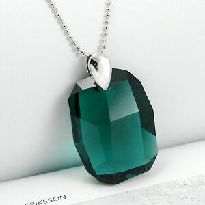 Vert-Emeraude-Collier-en-Argent-925-Gros-Cristal-avec-Swarovski-Elements