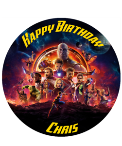 Avengers Infinity était Personalised Edible Birthday Cake Topper a4//Circle