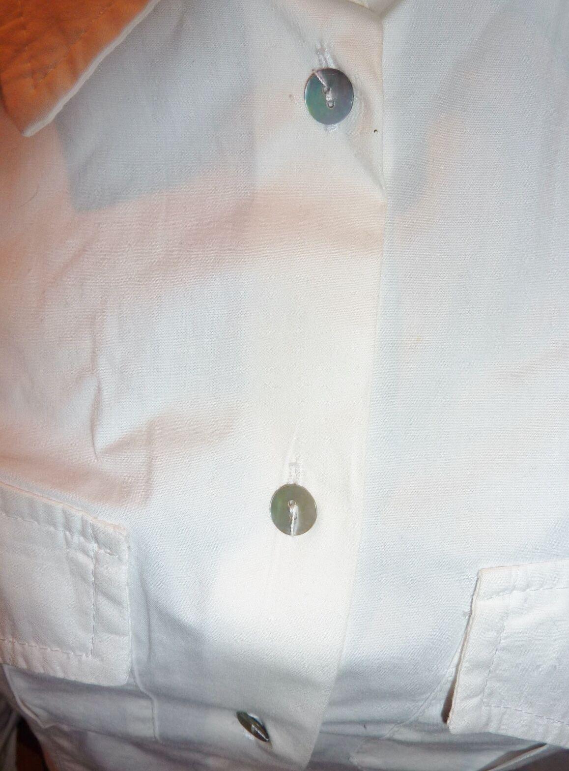 Contatto Italian button down white stretch cotton… - image 11