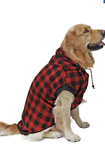 L, RED RC GearPro Cozy Waterproof Windproof Reversible British Style Plaid Dog Vest Hooded Shirt Coat Dog Apparel Cold Weather Dog Jacket for Puppy Small Medium Large Dog