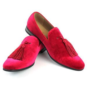 Velvet-Slip-On-Loafers-Handmade-Tassel-Modern-Formal-Mens-Dress-Shoes-By-AZAR