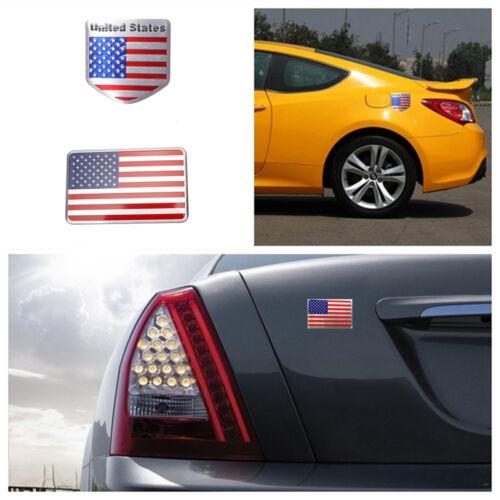 2pcs US American Flag 3D Car Sticker Auto Decor Decal Badge Emblem Aluminium New