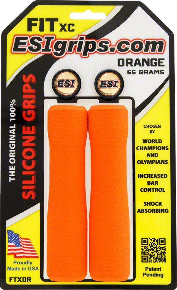 Orange ESI FIT XC Silicone MTB Mountain Bike Bicycle Handlebar Bar Grips 65g