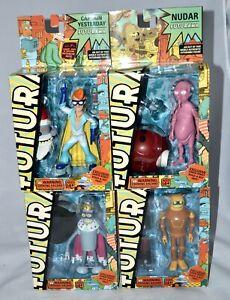 Futurama Super King Bender Calculon  Captain Yesterday NUDAR 4 action figures