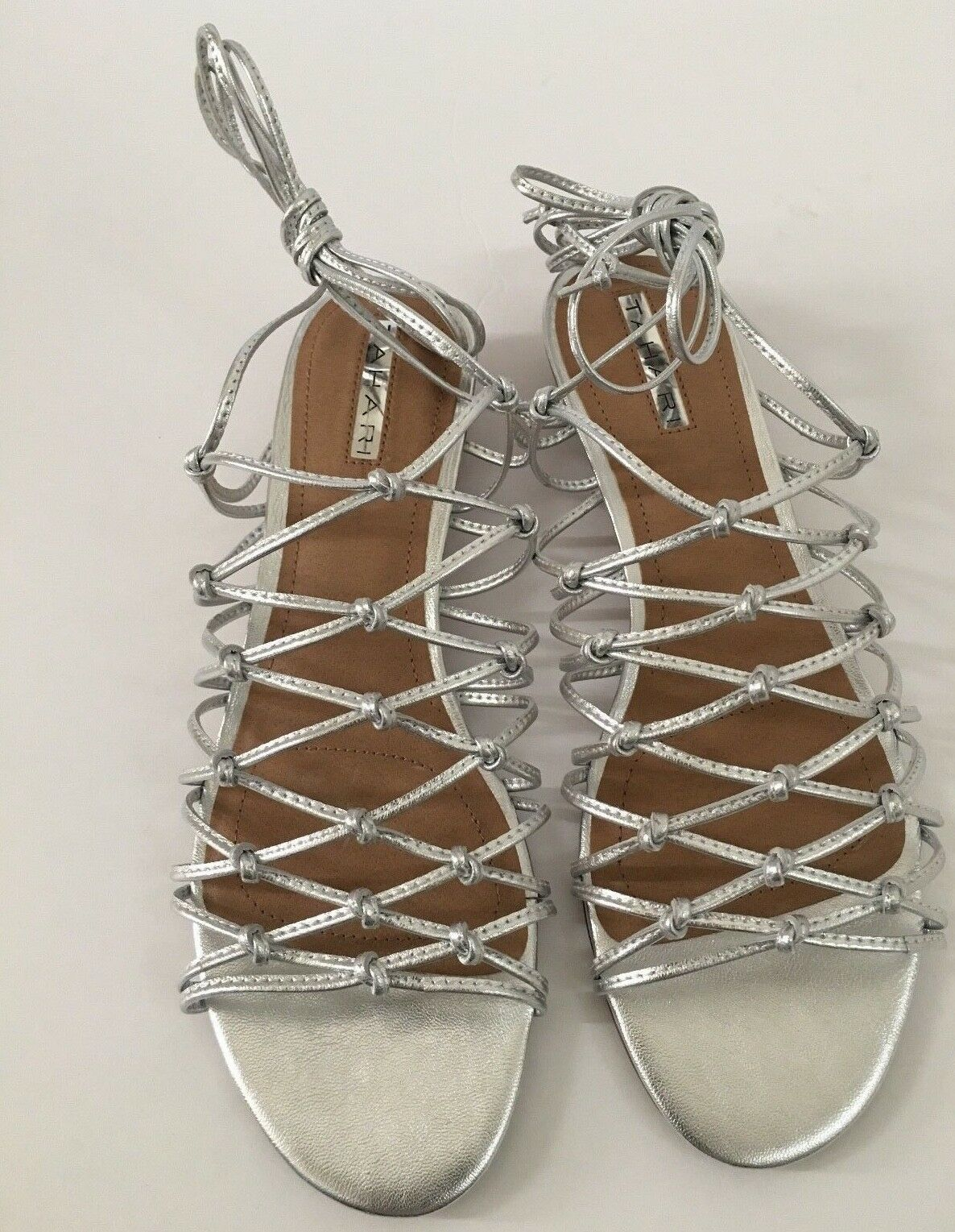 Tahari Women's shoes Size 9 M Metallic Leather Cage Sihlouette Wedge Heel New