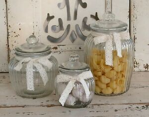 Reeded Glass Jar with Lace Ribbon Vacuum Seal Country Kitchen ...