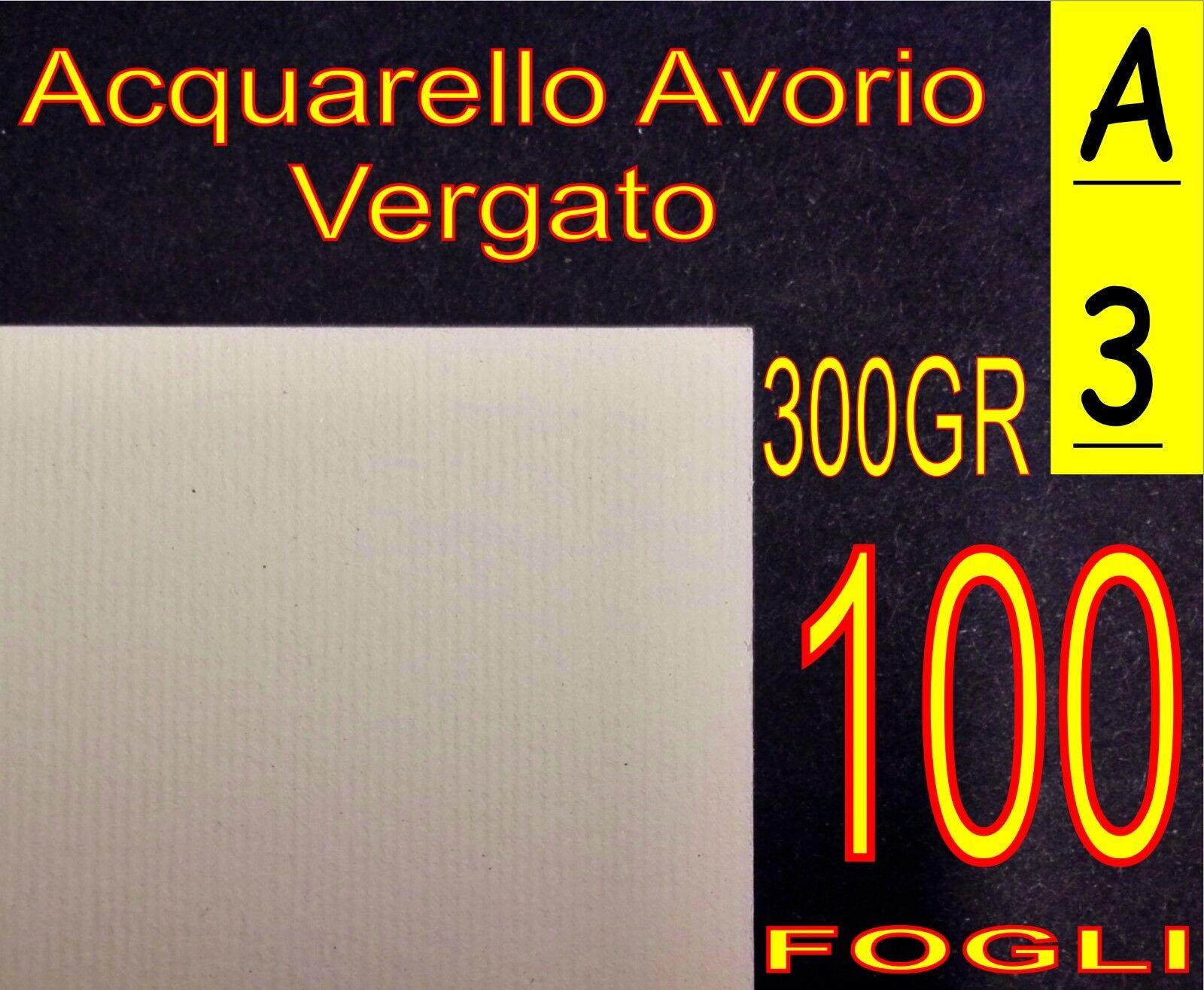 100 FOGLI DI CARTA ACQUARELLO AVORIO X STAMPANTI LASER INKJET A3 300GR