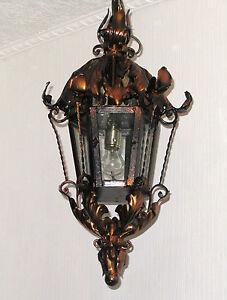 Xxl sch ne antik metall glas deckenlampe laterne for Flurlampe deckenlampe