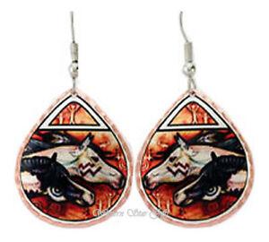 Solid-Copper-Horse-Earrings-Handmade-Jewelry-Petroglyph-War-Ponies-Lynn-Bean