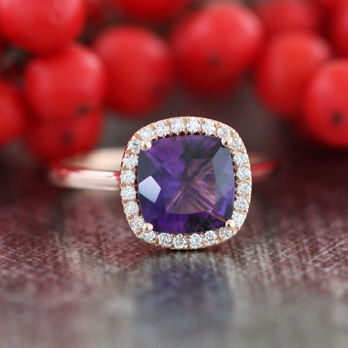 1.2ct Cushion Cut Purple Amethyst Solitaire Engagement Ring 14k pink gold Finish