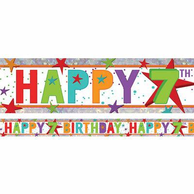 Olografico Felice 7th Compleanno Multi Colore Foil Banner - 2.7m Bann 675-