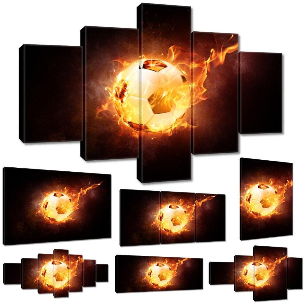 Leinwandbild Canvas Print Wandbild Fußball in Flammen Nr 3347