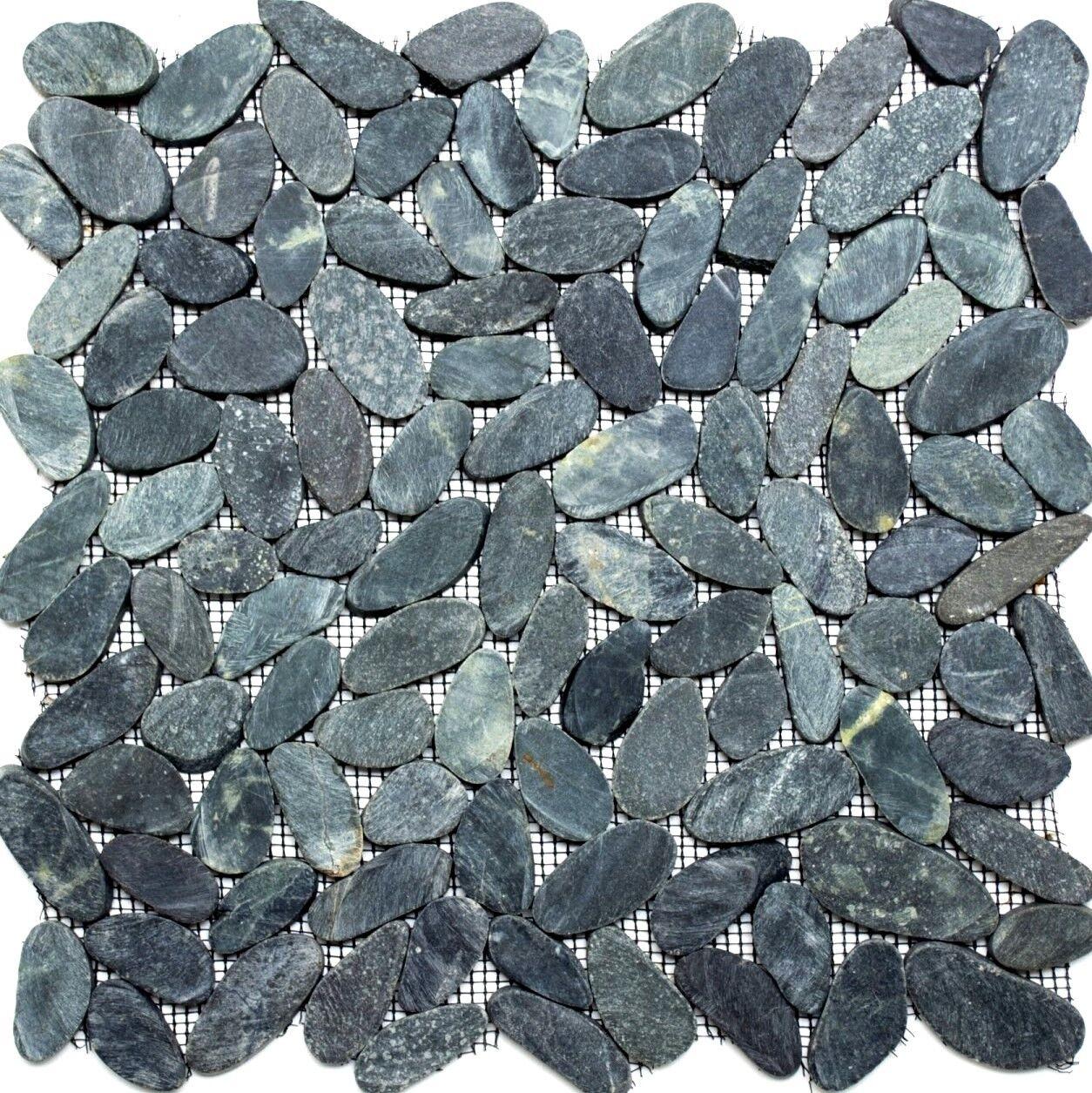 Mosaik Kiesel geschnitten uni schwarz 5/7 Fliesenspiegel Art:30-IN24   10 Matten