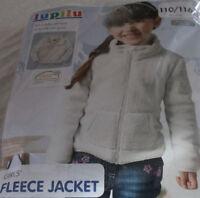 Girls' Fleece Jacket Zip Pockets White Cream sizes 86 / 92 98 / 104 110 / 116