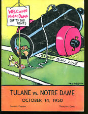 1950 Tulane v Notre Dame Football Program 10/14/50 Ex 22457 Chase