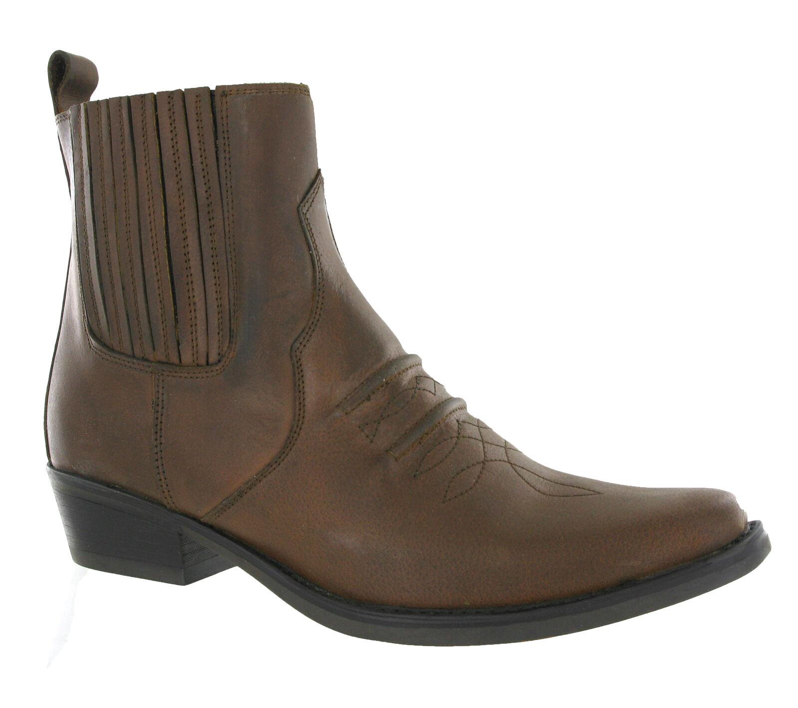 Gringos Gusset Cowboy Western  Ankle Uomo Leder Pull On Ankle  Stiefel UK6-12 c1307a