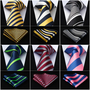 HISDERN-Woven-Men-Tie-Stripe-3-4-034-SilkNecktie-Wedding-Handkerchief-Set-RS1
