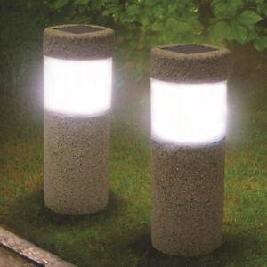 large outdoor garden solar decorative lawn stone pillar lights lamp yard walkway ebay. Black Bedroom Furniture Sets. Home Design Ideas