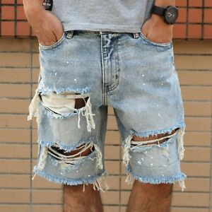 Jeans : Mens Fashion Denim Ripped Jeans Shorts Pants