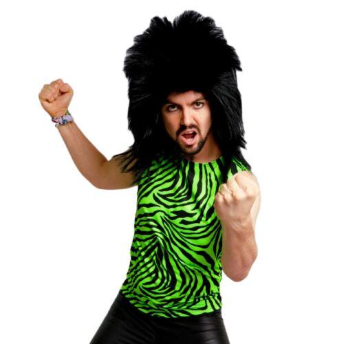 Neon 80/'s Heavy Metal GLAM Rock Bon Jovi Green Zebra Spandex Costume Tank Top