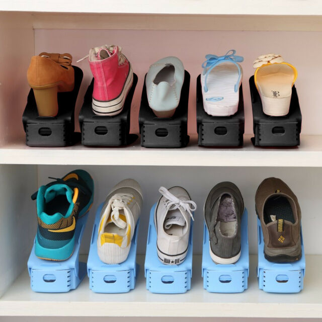 Plastic Adjustable Shoes Rack Storage Slots Organizer Holder Creative Space  Save