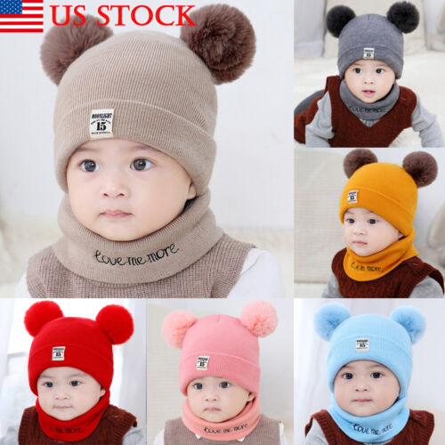 Newborn Kids Baby Boy Girl Pom Hat Winter Warm Knit Bobble Beanie Cap Scarf Set~