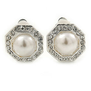 Prom-Bridal-Crystal-Faux-Pearl-Octagonal-Stud-Clip-On-Earrings-In-Silver-Tone