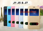 Coque 2 view Fenêtre Housse Etui Flip Cover Pour Samsung J1 J5 & J7 Case Fenêtre