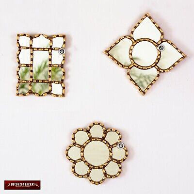 Small Gold Accent Wall Mirror set of 3 - Decorative ...