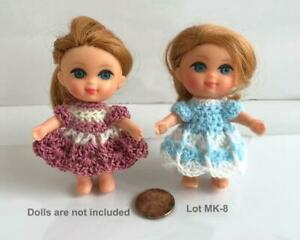 Clothes-for-3-034-Chubby-Kiddles-Doll-2-Dresses-OOAK-Lot-MK-8-Made-in-USA