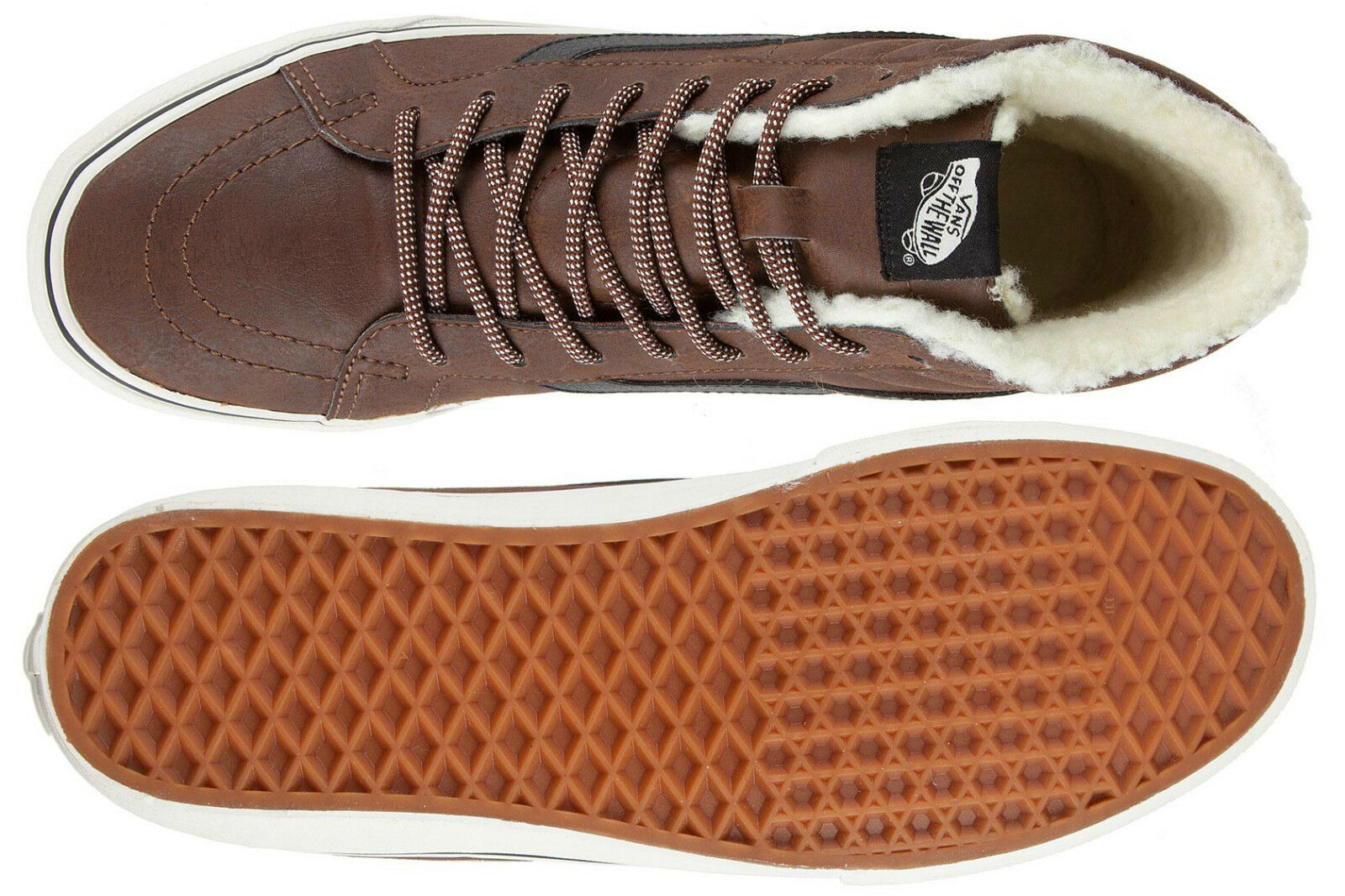 abac4fc0dc VANS Sk8 Hi Reissue Trainers Leather Fleece Brown Marshmallow Mid Boot Size  4.5 for sale online